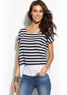 INC International Concepts Petite Layered-Look Striped Top