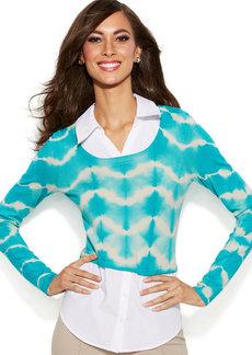 INC International Concepts Petite Layered-Look Tie-Dye Top