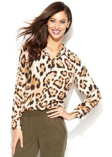 INC International Concepts Petite Leopard-Print Split-Back Shirt