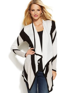 INC International Concepts Petite Long-Sleeve Draped Striped Cardigan
