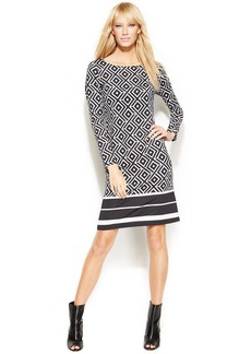 INC International Concepts Petite Long-Sleeve Geo-Print Shift Dress