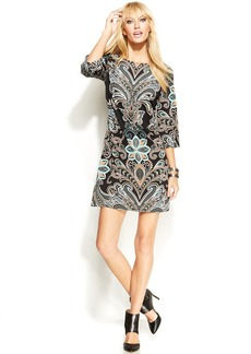 INC International Concepts Petite Long-Sleeve Printed Shift Dress