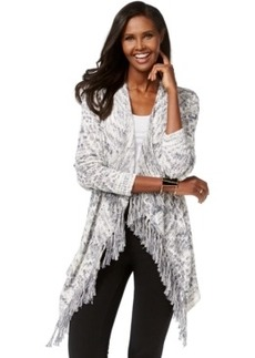 Inc International Concepts Petite Marled Fringe Cardigan, Only at Macy's