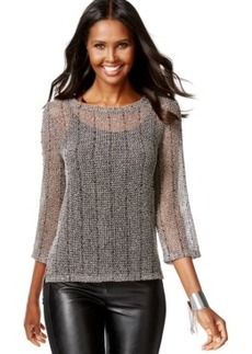 Inc International Concepts Petite Marled Illusion Sweater, Only at Macy's