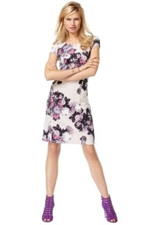 Inc International Concepts Petite Mesh-Back Printed Shift Dress, Only at Macy's
