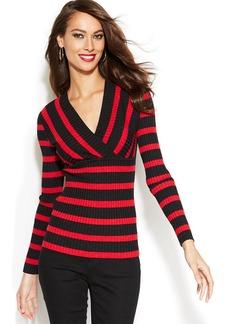 INC International Concepts Petite Metallic-Flecked Striped Sweater