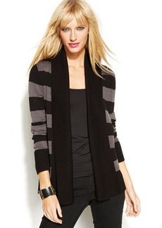 INC International Concepts Petite Open-Front Striped Cardigan