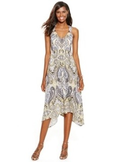 INC International Concepts Petite Paisley-Print Handkerchief-Hem Dress