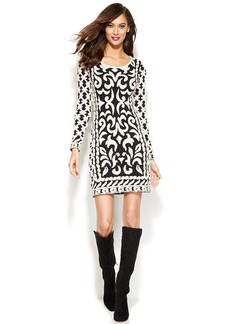 INC International Concepts Petite Patterned Sweater Dress