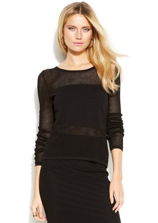 INC International Concepts Petite Perforated Illusion Sweater