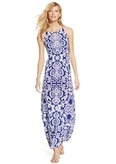 INC International Concepts Petite Printed Beaded Halter Maxi Dress
