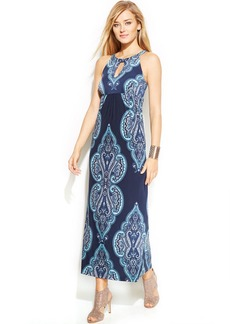 INC International Concepts Petite Printed Halter Maxi Dress