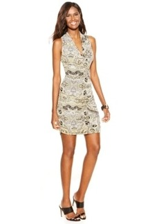 INC International Concepts Petite Printed Halter Sheath Dress