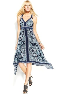 INC International Concepts Petite Printed Handkerchief-Hem Dress
