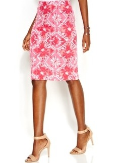 INC International Concepts Petite Printed Knee-Length Pencil Skirt