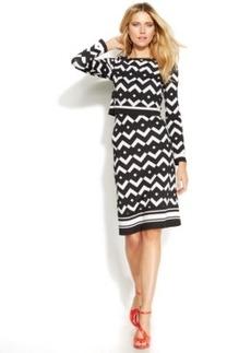 INC International Concepts Petite Printed Popover Bodycon Dress