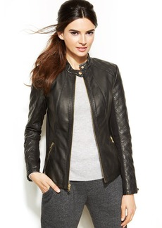 INC International Concepts Petite Quilted Faux-Leather Moto Jacket
