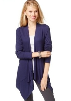 Inc International Concepts Petite Ribbed Asymmetrical Cozy Cardigan, Only at Macy's