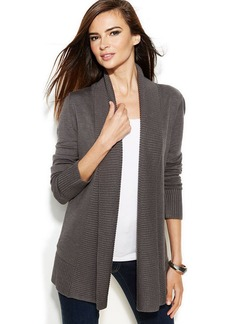 INC International Concepts Petite Ribbed-Knit Open-Front Cardigan