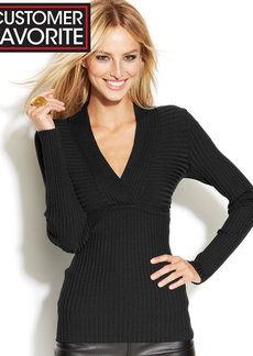 INC International Concepts Ribbed-Knit Surplice-Neck Long-Sleeve Sweater