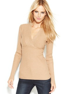 INC International Concepts Petite Ribbed-Knit Surplice-Neck Long-Sleeve Top