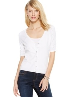 INC International Concepts Petite Ruched-Sleeve Cardigan