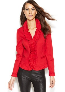 INC International Concepts Petite Ruffled Twill Jacket