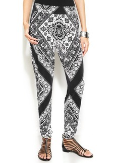 INC International Concepts Petite Scarf-Print Tapered-Leg Soft Pants