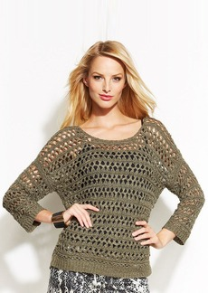 INC International Concepts Petite Scoop-Neck Open-Knit Sweater