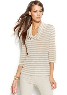 INC International Concepts Petite Sequined Cowl-Neck Sweater