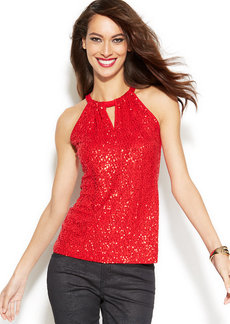 INC International Concepts Petite Sequined Halter Top