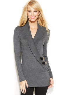 INC International Concepts Petite Shawl-Collar Buckle Sweater