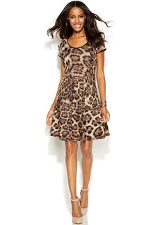 INC International Concepts Petite Short Sleeve Animal Print Sweater Dress