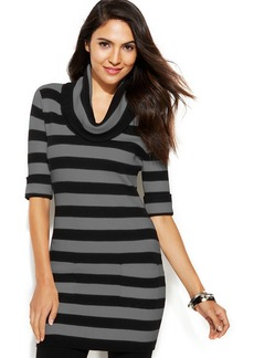 INC International Concepts Petite Short-Sleeve Cowl-Neck Striped Tunic Sweater