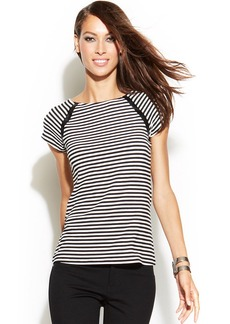 INC International Concepts Petite Short-Sleeve Pleather-Trim Striped Tee