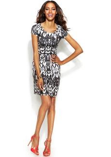 INC International Concepts Petite Short-Sleeve Printed A-Line Dress