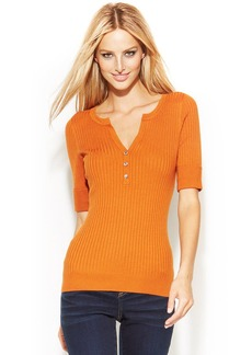 INC International Concepts Petite Short-Sleeve Ribbed Henley Sweater