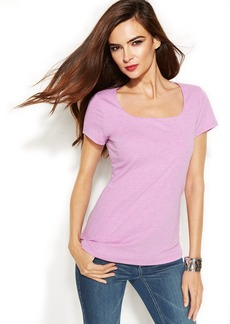 INC International Concepts Petite Short-Sleeve Square-Neck Tee