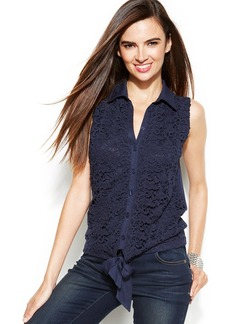 INC International Concepts Petite Sleeveless Lace Tie-Front Blouse