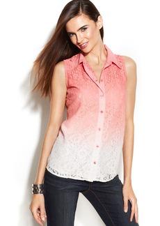 INC International Concepts Petite Sleeveless Ombré Lace Shirt