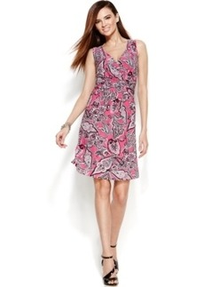 INC International Concepts Petite Sleeveless Printed Faux-Wrap Dress