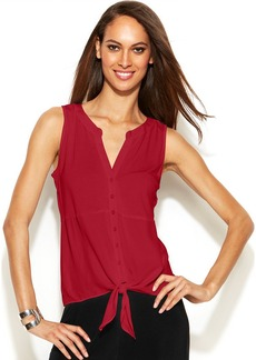 INC International Concepts Petite Sleeveless Tie-Hem Top