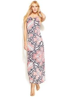 INC International Concepts Petite Snake-Print Halter Maxi Dress