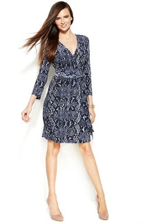 INC International Concepts Petite Snakeskin-Print Faux-Wrap Dress