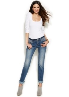 INC International Concepts Petite Straight-Leg Cuffed Jeans, Medium Wash