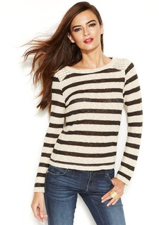 INC International Concepts Petite Striped Crochet-Shoulder Top