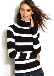 INC International Concepts Petite Striped Ribbed-Knit Turtleneck Sweater