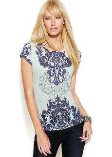 INC International Concepts Petite Studded Printed Tee