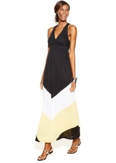 INC International Concepts Petite Surplice Colorblocked Maxi Dress