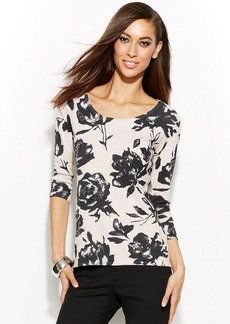 INC International Concepts Petite Three-Quarter-Sleeve Floral-Print Sweater